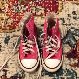 Pink high top converse. Size 3